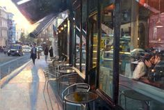 'Twilight Cafe, London' - new oil painting by UK artist Douglas Gray 40x28 inches douglasgray.com #london #cafe #painting