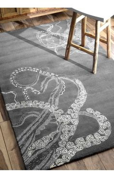 Rugs USA Sierra Octopus Tail Midnight Rug.Rugs USA Summer Sale up to 80% Off! Area rug, carpet, design, style, home decor, interior design, pattern, trend, statement, summer, cozy, sale, discount, free shipping.
