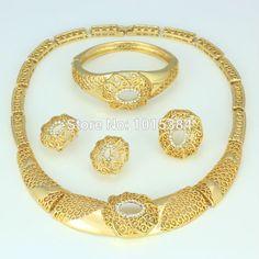 2015 New fashion women dubai jewelry set 18k gold plated necklace ring earrings bangle sets yellow gold plated-in Jewelry Sets from Jewelry on Aliexpress.com | Alibaba Group
