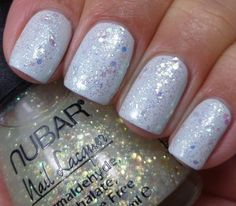 Nubar Kristal (holo glitter topcoat, swatched over white)