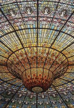 """""""Stained glass ceiling, Palacio da Musica Catalana, Barcelona""""  NO IT'S NOT!!!  IT'S THE FLBMERDSERFB!!!  FROM CLOUDY WITH A CHANCE OF MEATBALLS!!!!"""