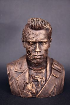 d3e6e4fd2b7 Terminator Metal Skeleton Battle Damage version Arnold bust status new box  in stock now