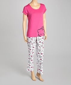 Take a look at this Pink & White Hello Kitty Pajamas - Women on zulily today!