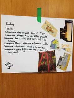 """Josh W. created this poem collage for """"Today I Am"""" by Janet Wong during WWU Poetry Mini Camp Missing Someone, Collages, Poems, Mini, Art, Art Background, Poetry, Kunst, Verses"""