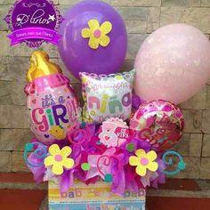 Floristeria,ramos Florales,arreglos Florales,globos,peluches Balloon Box, Balloon Bouquet, Balloon Arrangements, Balloon Decorations, Baby Baskets, Gift Baskets, Ideas Para Fiestas, Baby Shower Balloons, Welcome Baby