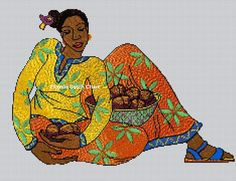 African Art 1 Cross Stitch Chart by flossiestitchdecor on Etsy