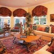 Family Room Traditional Tuscan Design, Tuscan Style, Traditional Family Rooms, Valance Curtains, Living Rooms, Home Decor, Lounges, Decoration Home, Salons
