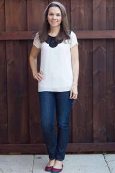 Oh my... PLEASE SEND ME THIS TOP! :) Daniel Rainn Mandy Lace Detailed Short Sleeve Blouse. Stitch Fix December 2014 Review