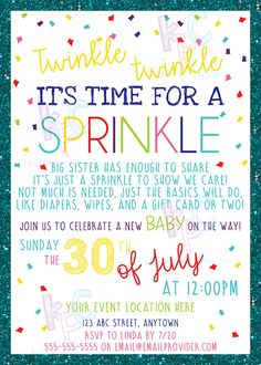 """Twinkle Twinkle Time for a Sprinkle Themed 5""""x7"""" Printable Baby Shower Invitation {Digital File Only}"""