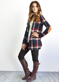 Look at this éloges Navy Plaid Elbow Patch Open Cardigan on today! Casual Outfits, Cute Outfits, Fashion Outfits, Womens Fashion, Punk Fashion, Fall Winter Outfits, Autumn Winter Fashion, Winter Clothes, Women's Clothes