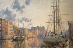John Stobart - Milwaukee: The Inner Harbor at Sunset in 1880. Limited edition print from original the oil painting. Size: 20 x 31″ Edition: 950  -- on ScrimshawGallery.com #JohnStobart #Stobart