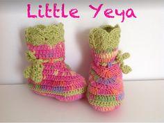 chaussons bottes bébé fille crochetée main dans un fil doux rose et vert : Mode Bébé par little-yeya