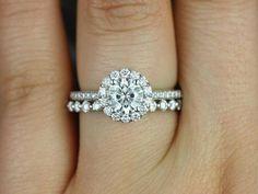 White Gold Round Halo FB Moissanite and Diamonds Wedding ring