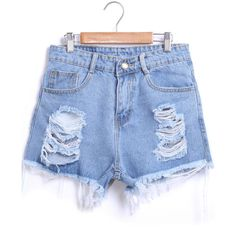 Blue Ripped Fringe Denim Shorts found on Polyvore featuring polyvore, fashion, clothing, shorts, sheinside, bottoms, short, blue, distressed high waisted shorts and high rise shorts