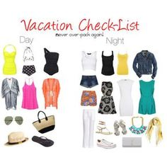 vacation check list. Day and night