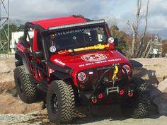 Red and yellow jeep Jeep Cars, Jeep 4x4, Jeep Truck, 4x4 Trucks, Dodge Trucks, Fire Trucks, Jeep Wrangler Tj, Jeep Wrangler Unlimited, Red Jeep