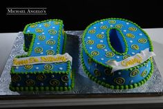 Description This cake is shaped as the number 10 & iced in colored buttercream. It is decorated with swirls and polka dots. Sizes and pricing Total pric