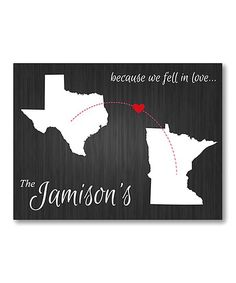 Commemorate your wedding day with this personalized wall sign crafted with long lasting canvas and wood. Personalization note: 20 letter max. last name. State 1 and 2 required. Shipping note: This item will be personalized just for you. Allow extra time for your special find to ship.