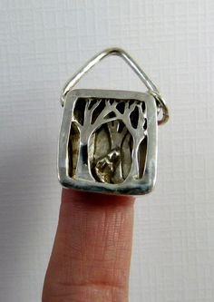 My forest through the trees... Up cycled sterling silver and PMC - Pendant