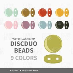 Two-Hole DiscDuo Beads Vector Clip-art Set - ai, eps, pdf, png by VectorBeads on Etsy