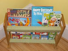 A small wooden shoe rack into a kids book case w/ fabric   Need to check goodwill