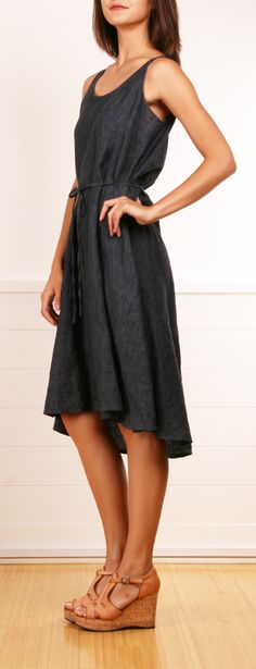 Eileen Fisher denim dress...use Jacole pattern, sleeveless option, with highlow tutorial from maxi skirt!!