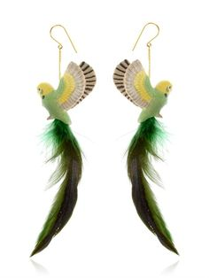NACH - BUDGERIGAR EARRINGS WITH FEATHER - LUISAVIAROMA - LUXURY SHOPPING WORLDWIDE SHIPPING - FLORENCE