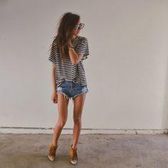 Stripes & denim shorts