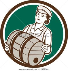 Illustration of a female bartender worker carrying keg set inside circle on isolated background done in retro style. Retro Vector, Bartender, Royalty Free Images, Retro Fashion, Retro Illustrations, Stock Photos, Vector Stock, Female, Retro Style