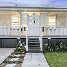 Home renovation, extra spectacular reno tip, reference 6701743660 to view this second. Queenslander House, Weatherboard House, Hamptons Style Homes, Hamptons House, Exterior Paint Colors For House, Paint Colors For Home, Up House, House Front, Front Stairs