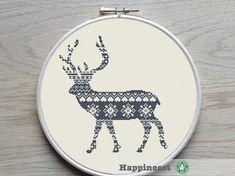 cross stitch pattern nordic deer, reindeer, nordic folk, Scandinavian,  christmas decoration, PDF,  ** instant download**