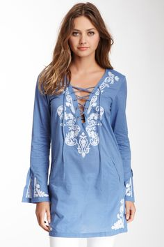 Embroidered Lace-Up Tunic. Would be a perfect swimsuit cover up for the beach