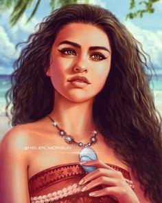 Beautiful Selena Gomez as Moana 🌊🐔🐷 Do you like this Disney princess? She is one of my favorite princess 💙💚💙 - - Disney Princess Drawings, Disney Princess Art, Disney Fan Art, Disney Drawings, Disney Princesses, Princess Moana, Drawing Disney, Cara Delevingne, Selena Selena