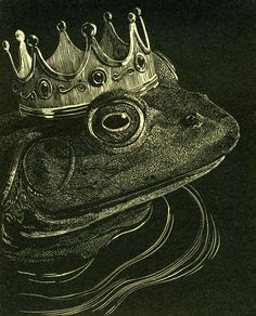 """""""The Frog Prince"""" by James Lorigan - 2007 wood engraving printed in black ink image size 4""""x5"""" edition of 10"""