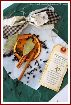 Holiday Potpourri… smells absolutely wonderful!  It will fill your home with the scent of cinnamon, cloves, oranges, allspice, and bay leaf!  Everything Christmas ought to smell like! by whatscookingwithruthie.com #gift_idea #christmas