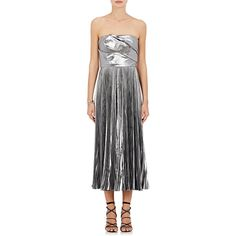 J. Mendel Women's Pleated Satin Strapless Cocktail Dress ($4,995) ❤ liked on Polyvore featuring dresses, grey, corset style dress, gray strapless dress, satin pleated dress, zip back dress and back zipper dress