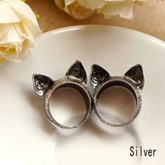 2016 Charming Cute Jewelry Accessories vintage wholesale fashion cat ear finger ring Alloy Ring Color Bronze Silver plated