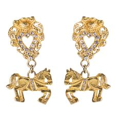 Christian Lacroix Vintage Rare Baroque Heart and Horse Earrings c. Christian Lacroix, Historical Costume, Green And Purple, Statement Jewelry, Oeuvre D'art, Precious Metals, Baroque, Costume Jewelry, Vintage Inspired