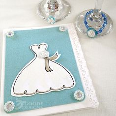 Beautiful handmade wedding card with pretty buttons and a hand-drawn wedding gown you can download as a digistamp for your own card!