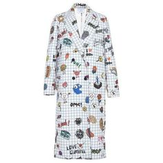 Mira Mikati Notepad Printed Coat (£1,140) ❤ liked on Polyvore featuring outerwear, coats, print coat, print comic book, pattern coat, comic book and mira mikati