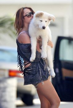 A Girl With The Dog #fashion, #dogs, #cute, https://apps.facebook.com/yangutu/