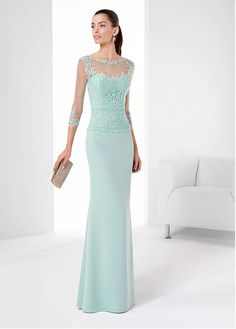 Gorgeous Chiffon & Stretch Satin Bateau Neckline Floor-length Sheath Evening Dresses with Beadings