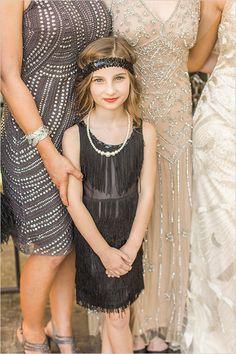 A Gatsby-Inspired Art Deco Wedding at the Gardens of Bammel Lane in Houston, Texas Roaring 20s Wedding, Flapper Wedding, Great Gatsby Wedding, 1920s Wedding, Art Deco Wedding, Wedding Ideas, Flower Girls, Flower Girl Dresses, Girls Dresses