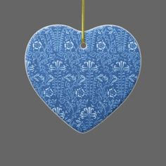 Vintage Cornflower Floral Blue Heart Ornament - Customize by adding your own info. Great for Easter and Wedding decorations as well as for other occasions...