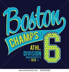 Athletic sport Boston typography, t-shirt graphics, vectors