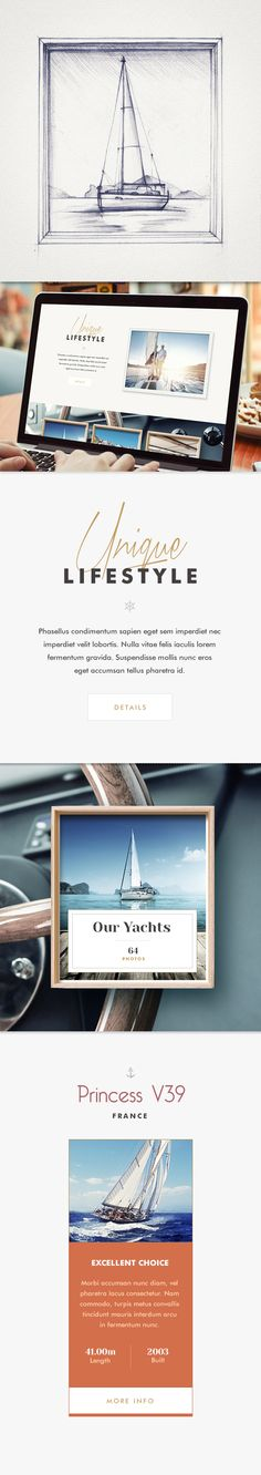 Website design for a company dealing with worldwide yacht charters.
