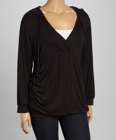 Love this Black Surplice Ruched Hoodie - Plus by GLAM on #zulily! #zulilyfinds