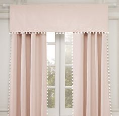"""Pom-Pom Linen-Cotton Valance Rod-pocket style To hang a valance and drapery panels together, a double-rod conversion kit is required 18""""L x 50""""W VIEW DRAPERY MEASURING GUIDE"""