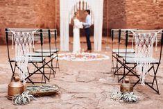 Macrame Wedding - Background Arch and Chair Covers #bohemian #modernmacrame Quarai Ruins, New Mexico