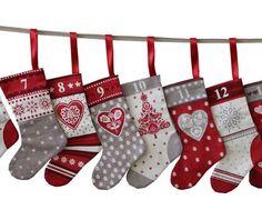 Scandi Christmas Stockings Advent Calendar Bunting Panel Fabric by Henley Studio